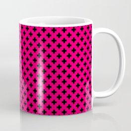 Small Black Crosses on Hot Neon Pink Coffee Mug