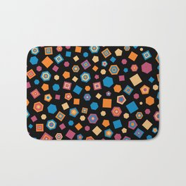 Colorful polygons on Black background Bath Mat