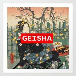 Geisha with Cherry Blossoms (Sakura trees) Art Print