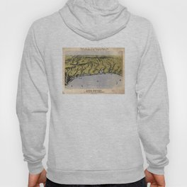 Vintage Pictorial Map of The Texas Coast (1861) Hoody