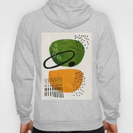 Mid Century Modern Abstract Colorful Art Patterns Olive Green Yellow Ochre Orbit Geometric Objects Hoody