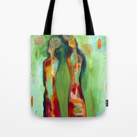 "flora bowley Tote Bags featuring ""Two Flowers"" Original Painting by Flora Bowley by Flora Bowley"