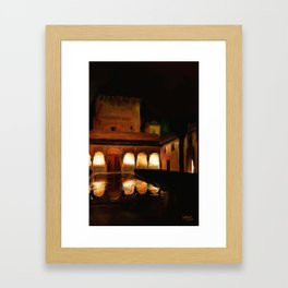 Court of the Myrtles by Night - Alhambra Framed Art Print