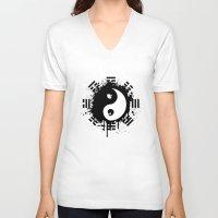 yin yang V-neck T-shirts featuring Yin Yang by Emir Simsek