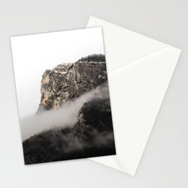 Dark rocky cliff on a cold winter morning Stationery Cards