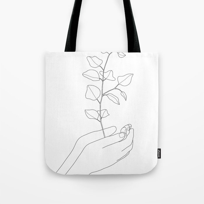 Minimal Hand Holding the Branch II Tote Bag
