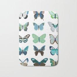 Green and Blue Butterflies Bath Mat