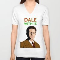 dale cooper V-neck T-shirts featuring DALE WITH IT. by Chris Piascik