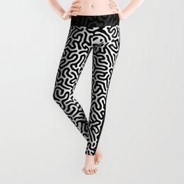 Black and White Organic MAZE Pattern Leggings