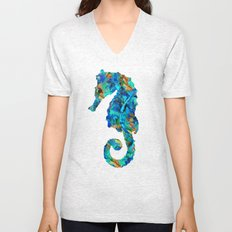 Blue Seahorse Art by Sharon Cummings Unisex V-Neck