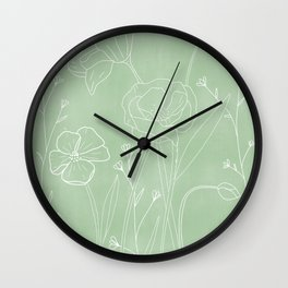 Poppy Floral Garden - Green  Wall Clock