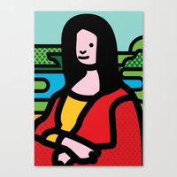 mona lisa Canvas Prints featuring Mona Lisa by Dog A Day