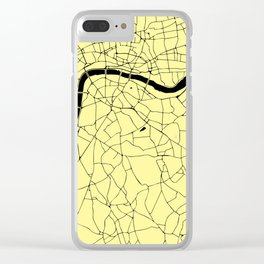 London Yellow on Black Street Map Clear iPhone Case