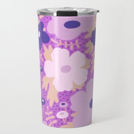Flower bonanza - Purple background Travel Mug