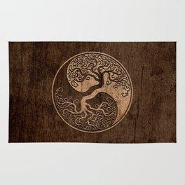 Rough Wood Grain Effect Tree of Life Yin Yang Rug