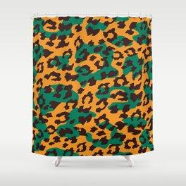 Modern orange brown jade green animal print Shower Curtain