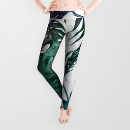 Tropical Palm Leaves on Marble Leggings