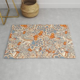 Orange and blue abstract pattern Rug
