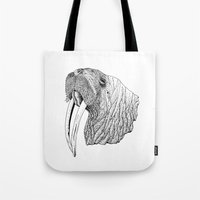 walrus Tote Bags featuring Walrus by MattLeckie