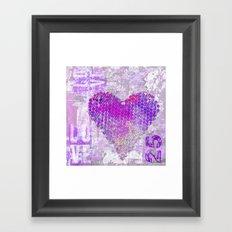 Pink heart mixed media art Framed Art Print