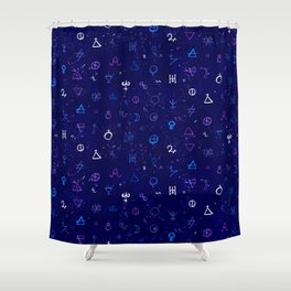 Dark sky with mystic signs Shower Curtain
