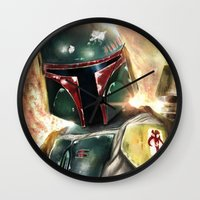boba Wall Clocks featuring Boba Fett by Mishel Robinadeh