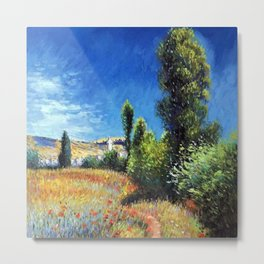 Red Poppies and Landscape on the Ile Saint-Martin by Claude Monet Metal Print