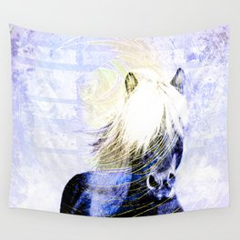 447 Abstract Periwinkle Horse Wall Tapestry