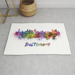 Baltimore skyline in watercolor Rug