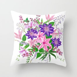 Bouquet with pink and violet clematis flowers Throw Pillow