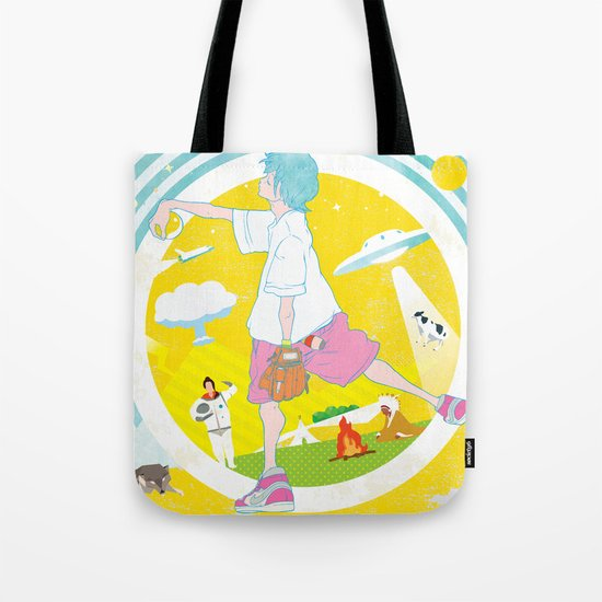 SUPER ULTRA MIRACLE SPACE GALAXY THUNDERBOLT INDIAN FIRE VOLCANO CATTLE MUTILATION LONELY WOLF BALL Tote Bag