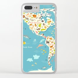Animals world map. Beautiful cheerful colorful vector illustration for children and kids Clear iPhone Case