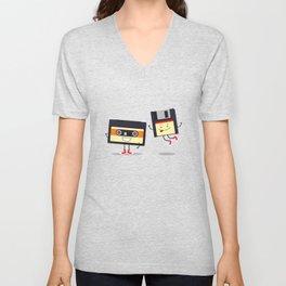 Floppy disk and cassette tape Unisex V-Neck