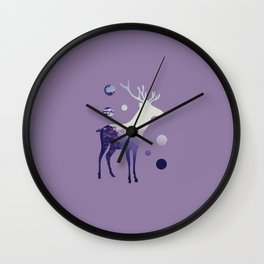 Deer with Mountains and Dots Wall Clock