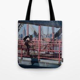 Cyclist on Williamsburg Bridge Tote Bag