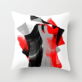 dancing abstract red white black grey digital art Throw Pillow
