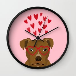 Pitbull dog head heart glasses cute hearts dog breed valentines day pibble gifts Wall Clock