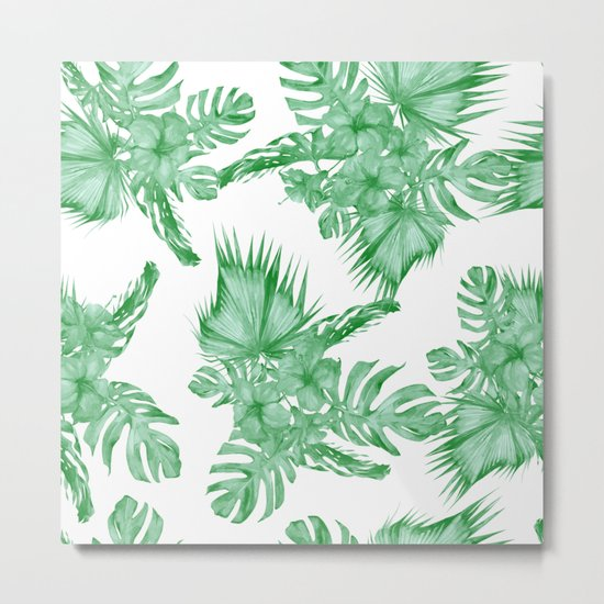 Palm Leaves and Hibiscus Tropical Green Metal Print