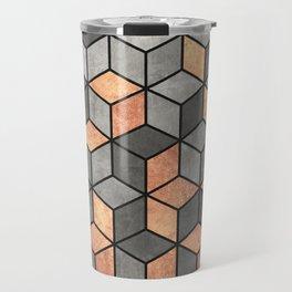 Concrete and Copper Cubes Travel Mug
