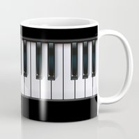 piano Mugs featuring Piano by rob art | illustration