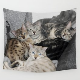 Bengal Cat Kitty Pile  Wall Tapestry