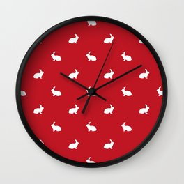 Rabbit silhouette minimal red and white basic pet art bunny rabbits pattern Wall Clock