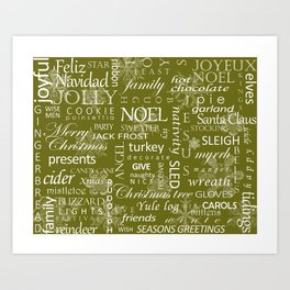 Holiday Word Cloud Art Print