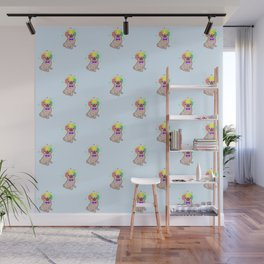 Pug dog in a clown costume pattern Wall Mural