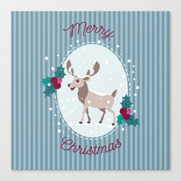 Merry Christmas - Moose and snow Canvas Print