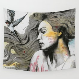Monument (long hair girl with bird and skyline tattoo) Wall Tapestry