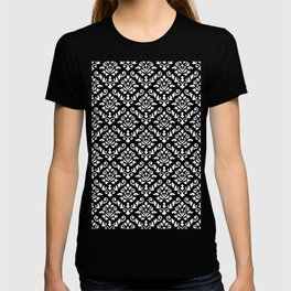 Damask Baroque Repeat Pattern White on Black T-shirt