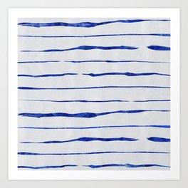 Blue Wiggly Stripes Pattern Art Print
