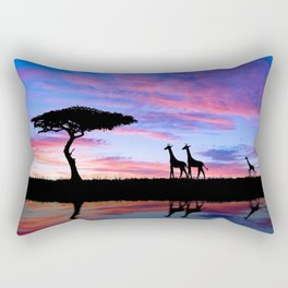 Lonely Tree And Giraffes Silhouette In African Savannah At Sunset Ultra HD Rectangular Pillow