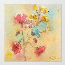 Vintage flowers (watercolor) Canvas Print